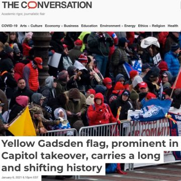 Yellow Gadsden flag, prominent in Capitol takeover