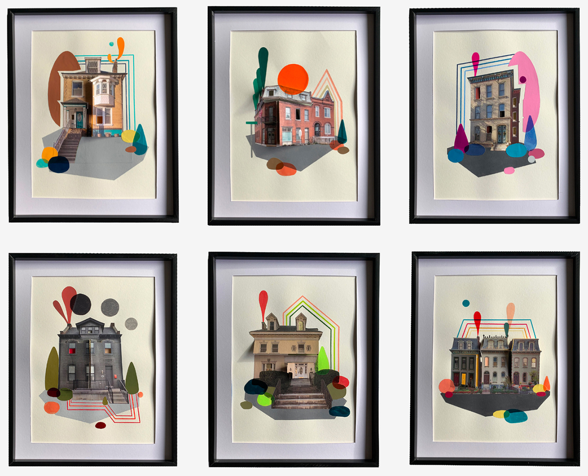 """Images of houses surrounded by colorful lines and shapes. Sections of the houses are cut so that they open and reveal the """"personality"""" of the home."""