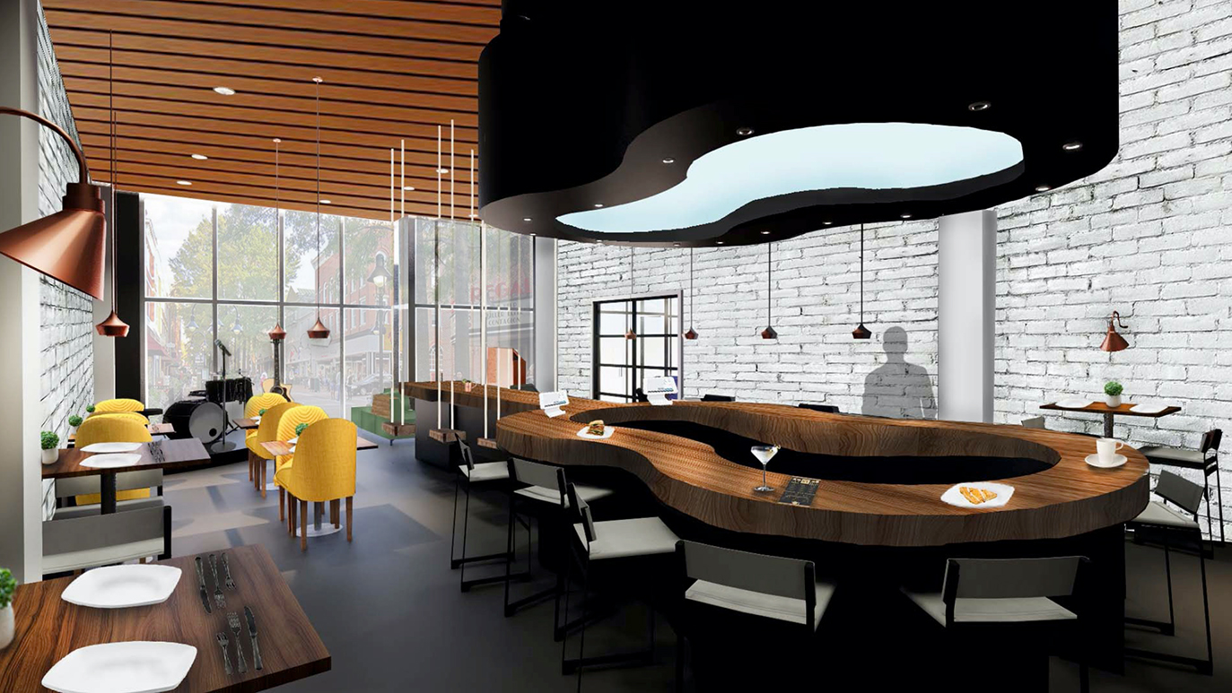 The Music Bistro Perspective Rendering by Angelica Lebron Aponte